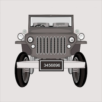 Cartoon  illustration jeep retro classic