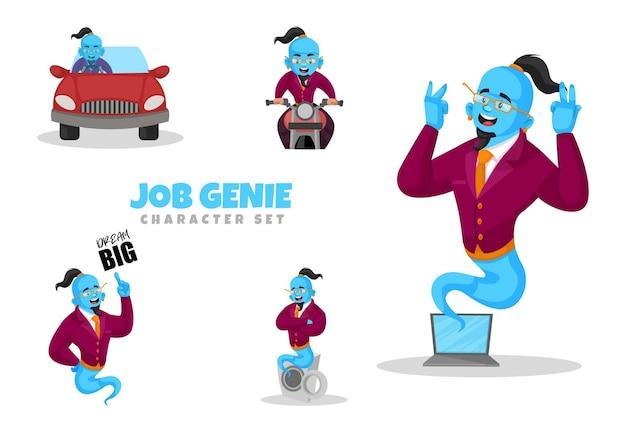 Cartoon illustration of job genie character set