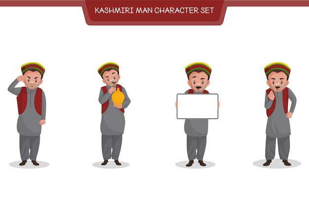 Cartoon illustration of kashmiri man character set