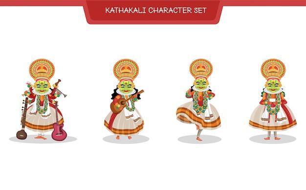 Cartoon illustration of kathakali character set