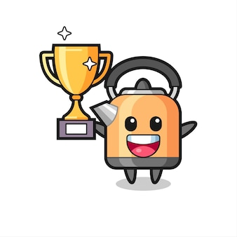Cartoon illustration of kettle is happy holding up the golden trophy , cute style design for t shirt, sticker, logo element