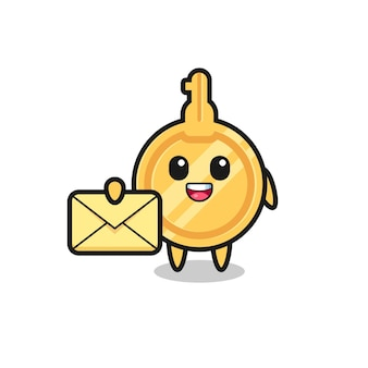 Cartoon illustration of key holding a yellow letter , cute design