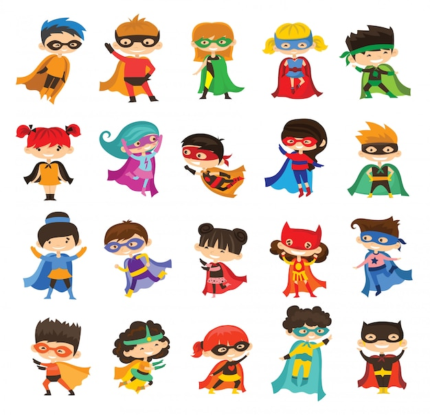 Cartoon illustration of kid superheroes wearing comics costumes isolated on the white background.