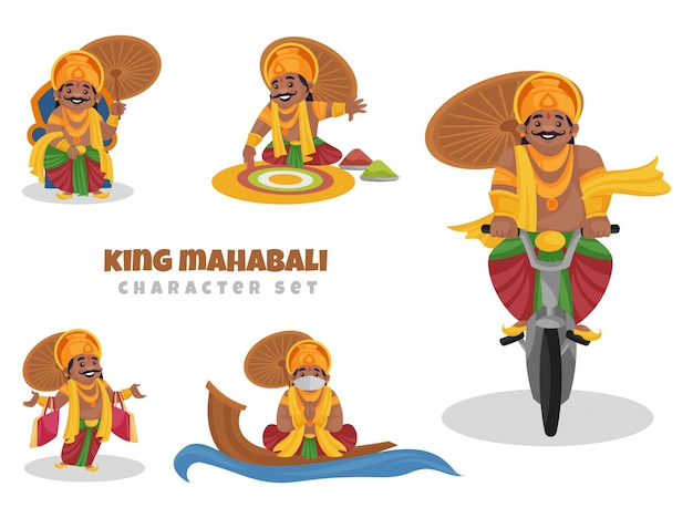 Cartoon illustration of king mahabali character set