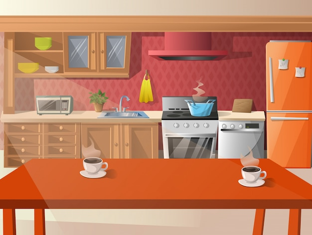 Cartoon illustration of  kitchen.