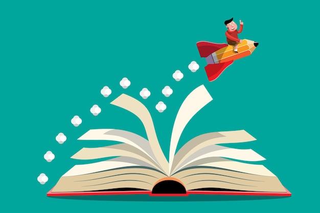 漫画イラスト知識の概念。本に漫画イラストペンシルロケット打ち上げ。