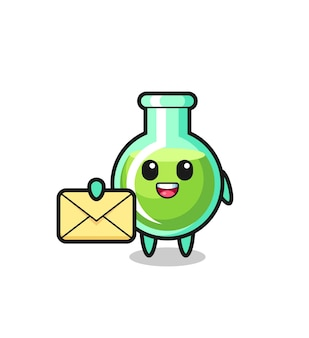 Cartoon illustration of lab beakers holding a yellow letter , cute style design for t shirt, sticker, logo element