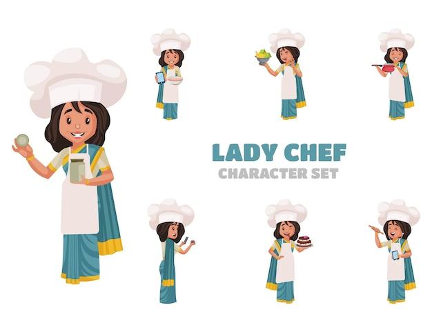 Cartoon illustration of lady chef character set