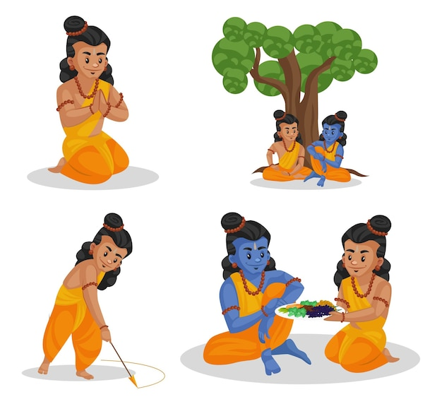Cartoon illustration of lakshman character set