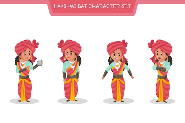 Cartoon illustration of lakshmi bai character set