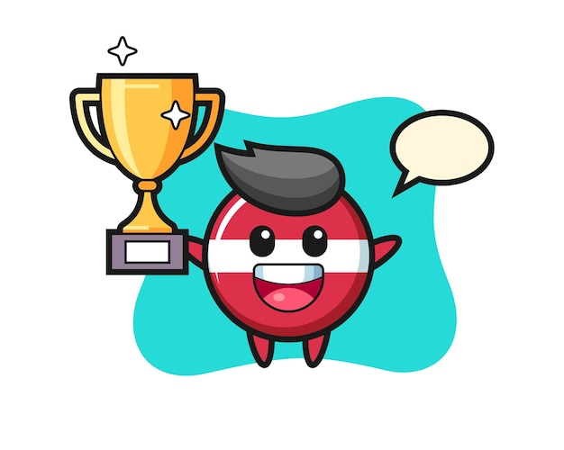 Cartoon illustration of latvia flag badge is happy holding up the golden trophy , cute style design for t shirt, sticker, logo element