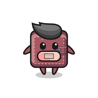 Cartoon illustration of leather wallet with tape on mouth