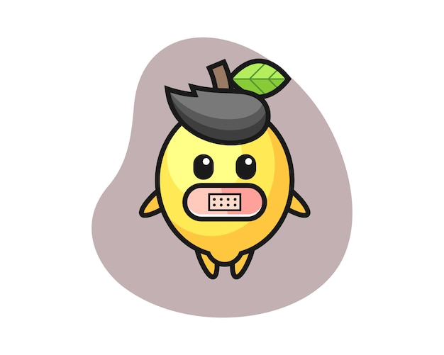 Cartoon illustration of lemon with tape on mouth