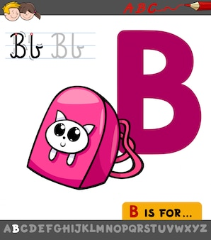 Cartoon illustration of letter b with backpack