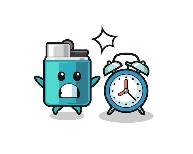 Cartoon illustration of lighter is surprised with a giant alarm clock , cute design