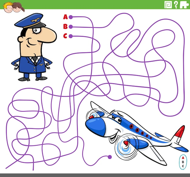 Cartoon illustration of lines maze puzzle game with pilot character and airplane