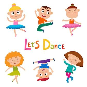 Cartoon illustration of little graceful dancers children