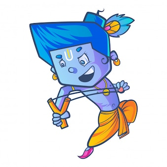 Cartoon illustration of little krishna with slingshot.