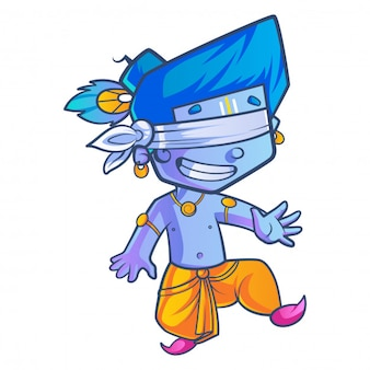 Cartoon illustration of little lord krishna playing hide and seek.