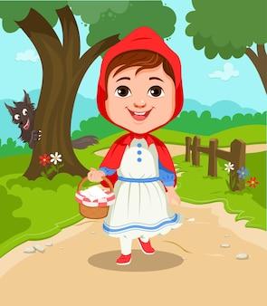 Cartoon illustration of little red riding hood vector
