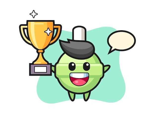 Cartoon illustration of lollipop is happy holding up the golden trophy
