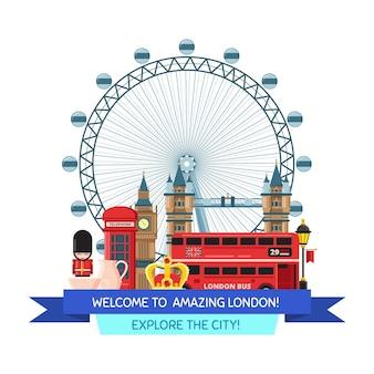 漫画イラストロンドンの観光スポットとオブジェクト