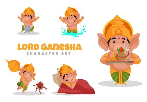 Cartoon illustration of lord ganesha character set