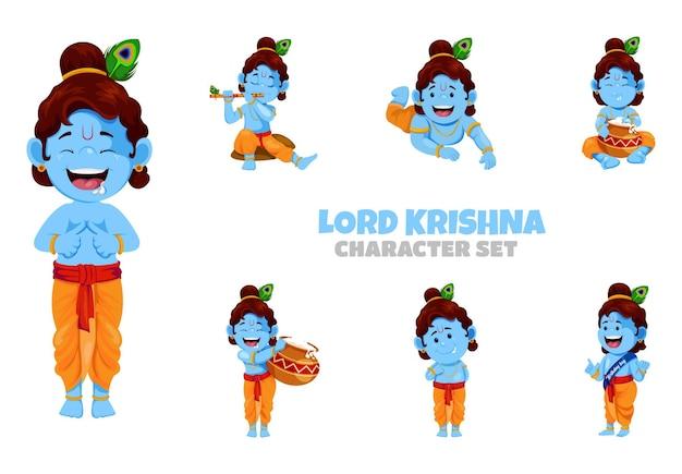 Cartoon illustration of lord krishna character set