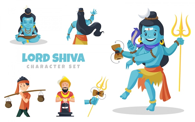Cartoon illustration of lord shiva character set