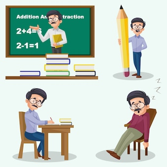 Cartoon illustration of male teacher character set