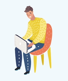 Cartoon illustration of man in casual outfit sitting home in comfortable armchair and browsing or working on laptop at his laps.