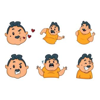 Cartoon illustration of man set