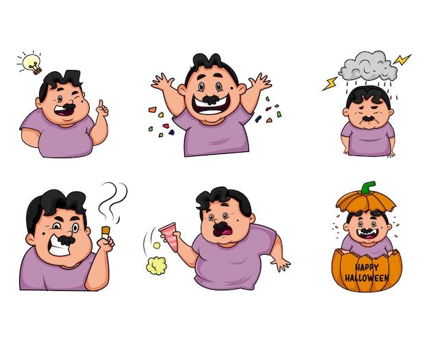 Cartoon illustration of man set.