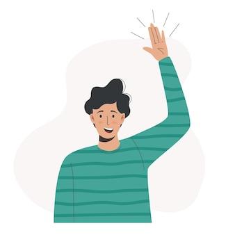 Cartoon illustration of a man waving hand