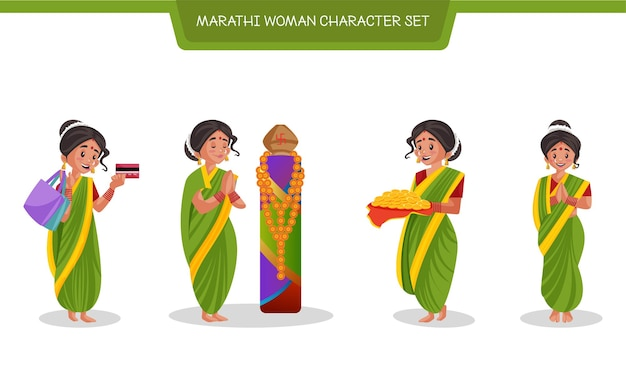 Cartoon illustration of marathi woman character set