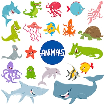 Cartoon illustration of marine animal characters set