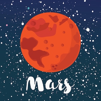Cartoon illustration of mars red planet