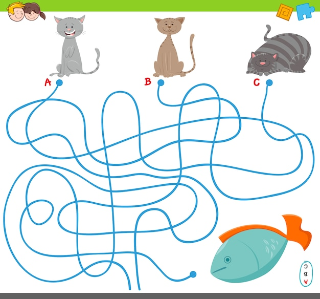 Cartoon illustration of maze puzzle game with cats