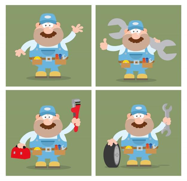 Cartoon illustration of mechanic character