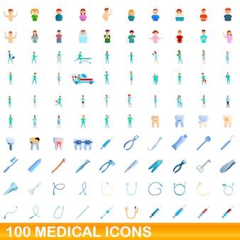 Cartoon illustration of medical icons set isolated on white