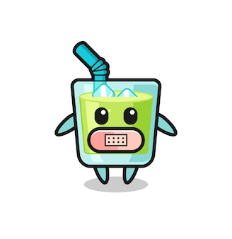 Cartoon illustration of melon juice with tape on mouth , cute style design for t shirt, sticker, logo element Premium Vector