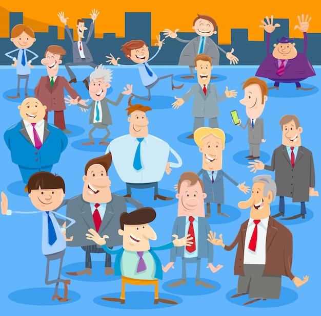 Cartoon illustration of men or businessmen large group