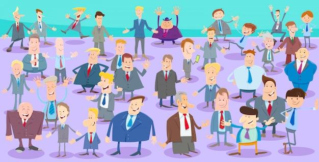 Cartoon illustration of men or businessmen people crowd