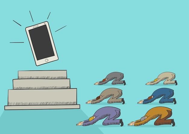 Cartoon illustration of men worshiping a gadget