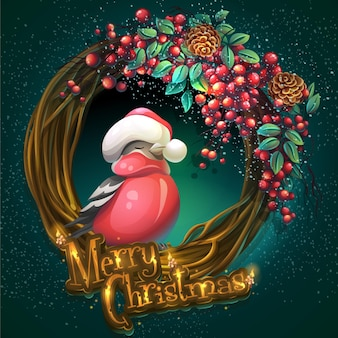 Cartoon illustration merry christmas wreath of vines and leaves on a green background with ash berry and bullfinch