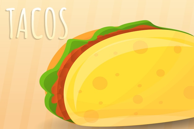 Cartoon illustration of mexican tacos