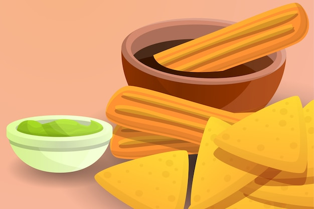 Cartoon illustration of mexican tamales