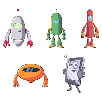 Cartoon illustration of mobile and robots.