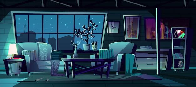 Cartoon illustration of modern living room at night.