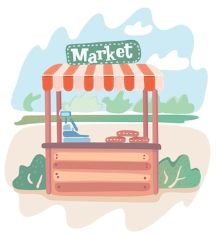 Cartoon illustration of modern market stall on summer landscape